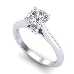 1.08 CTW VS/SI Diamond Solitaire Art Deco Ring 18K White Gold - REF-361Y8K - 37286