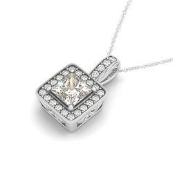 1.5 CTW Princess VS/SI Diamond Solitaire Halo Necklace 14K White Gold - REF-449A5X - 30019