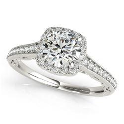 0.75 CTW Certified VS/SI Diamond Solitaire Halo Ring 18K White Gold - REF-98W4F - 26539