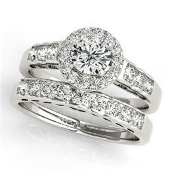 1.71 CTW Certified VS/SI Diamond 2Pc Wedding Set Solitaire Halo 14K White Gold - REF-234F5N - 31256