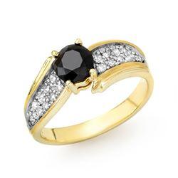1.40 CTW VS Certified Black & White Diamond Ring 10K Yellow Gold - REF-61N5Y - 14086