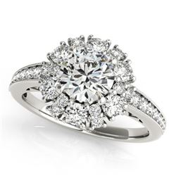 1.91 CTW Certified VS/SI Diamond Solitaire Halo Ring 18K White Gold - REF-263M3H - 26727