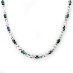 9.02 CTW Blue Sapphire & Diamond Necklace 18K White Gold - REF-163H6A - 11489