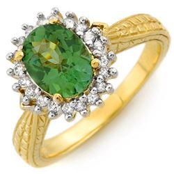 2.75 CTW Green Tourmaline & Diamond Ring 10K Yellow Gold - REF-52M4H - 10985