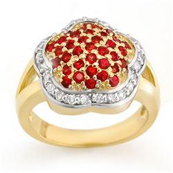 1.50 CTW Red Sapphire & Diamond Ring 14K Yellow Gold - REF-74X9T - 10542