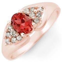 0.90 CTW Pink Tourmaline & Diamond Ring 14K Rose Gold - REF-45W5F - 10810