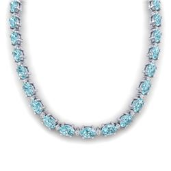 46.5 CTW Sky Blue Topaz & VS/SI Certified Diamond Eternity Necklace 10K White Gold - REF-223T5M - 29