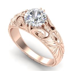 1 CTW VS/SI Diamond Solitaire Art Deco Ring 18K Rose Gold - REF-315N2Y - 36909
