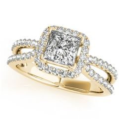 0.85 CTW Certified VS/SI Princess Diamond Solitaire Halo Ring 18K Yellow Gold - REF-141X5T - 27131