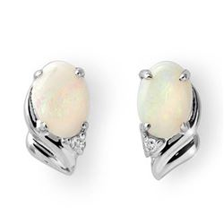 1.03 CTW Opal & Diamond Earrings 18K White Gold - REF-23K3W - 12883