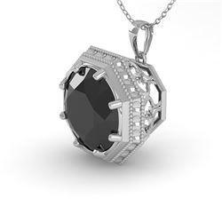 1.50 CTW Black Diamond Solitaire Necklace 18K White Gold - REF-50Y9K - 36012