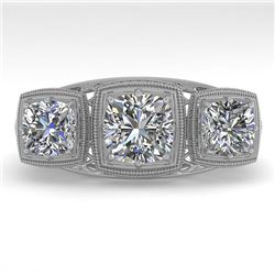 2 CTW Past Present Future VS/SI Cushion Cut Diamond Ring Deco 18K White Gold - REF-481T6M - 36072