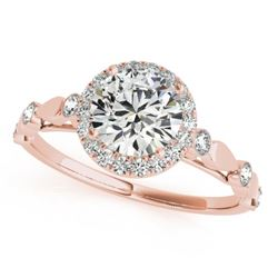 0.75 CTW Certified VS/SI Diamond Solitaire Halo Ring 18K Rose Gold - REF-121M3H - 26408