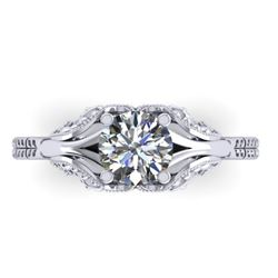 1 CTW Solitaire Certified VS/SI Diamond Ring 14K White Gold - REF-289Y6K - 38538