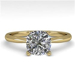 1 CTW Cushion Cut VS/SI Diamond Engagement Designer Ring 18K Yellow Gold - REF-282W2F - 32425