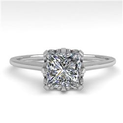 1.0 CTW VS/SI Princess Diamond Solitaire Engagement Ring size 7 18K White Gold - REF-322M5H - 35751