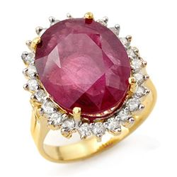 12.0 CTW Ruby & Diamond Ring 14K Yellow Gold - REF-150F9N - 13153