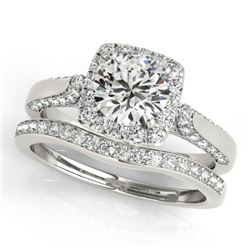 1.37 CTW Certified VS/SI Diamond 2Pc Wedding Set Solitaire Halo 14K White Gold - REF-156K9W - 30705