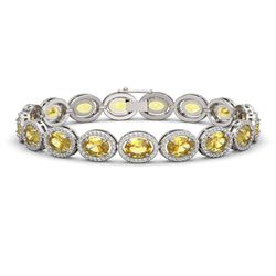 20.36 CTW Fancy Citrine & Diamond Halo Bracelet 10K White Gold - REF-246A8X - 40643