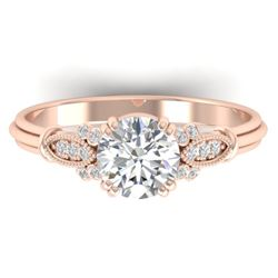1.15 CTW Certified VS/SI Diamond Solitaire Art Deco Ring 14K Rose Gold - REF-281Y8K - 30550