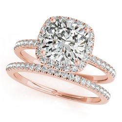 0.93 CTW Certified VS/SI Cushion Diamond 2Pc Set Solitaire Halo 14K Rose Gold - REF-142H8A - 31398
