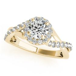 0.6 CTW Certified VS/SI Diamond Solitaire Halo Ring 18K Yellow Gold - REF-78W2F - 26660