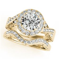 1.89 CTW Certified VS/SI Diamond 2Pc Wedding Set Solitaire Halo 14K Yellow Gold - REF-588W2F - 31309