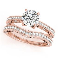1.27 CTW Certified VS/SI Diamond Solitaire 2Pc Wedding Set Antique 14K Rose Gold - REF-224K2W - 3152
