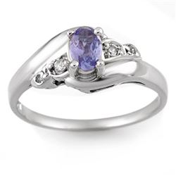 0.42 CTW Tanzanite & Diamond Ring 14K White Gold - REF-24H2A - 10440