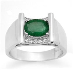1.83 CTW Emerald & Diamond Men's Ring 10K White Gold - REF-46K2W - 14493