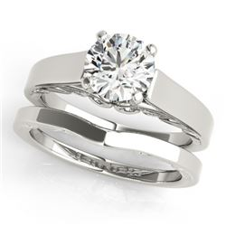 0.75 CTW Certified VS/SI Diamond Solitaire 2Pc Wedding Set 14K White Gold - REF-187H3A - 31856