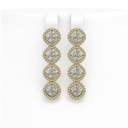 5.85 CTW Cushion Cut Diamond Designer Earrings 18K Yellow Gold - REF-1090K2W - 42865