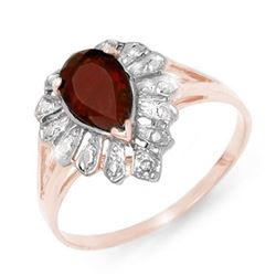1.11 CTW Garnet & Diamond Ring 18K Rose Gold - REF-24X8T - 13608