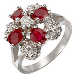1.58 CTW Ruby & Diamond Ring 14K White Gold - REF-43K3W - 10844