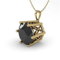 2 CTW Black Diamond Solitaire Necklace 18K Yellow Gold - REF-65M5H - 35878
