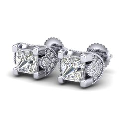 2.5 CTW Princess VS/SI Diamond Art Deco Stud Earrings 18K White Gold - REF-642H2A - 37151