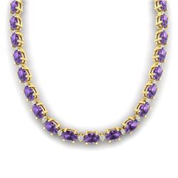 46.5 CTW Amethyst & VS/SI Certified Diamond Eternity Necklace 10K Yellow Gold - REF-226W2F - 29415