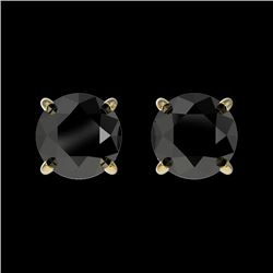 1.05 CTW Fancy Black VS Diamond Solitaire Stud Earrings 10K Yellow Gold - REF-25F9N - 36586
