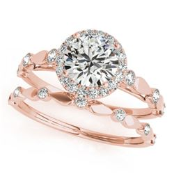 0.86 CTW Certified VS/SI Diamond 2Pc Wedding Set Solitaire Halo 14K Rose Gold - REF-123K6W - 30856