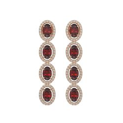 6.2 CTW Garnet & Diamond Halo Earrings 10K Rose Gold - REF-102N5Y - 40548