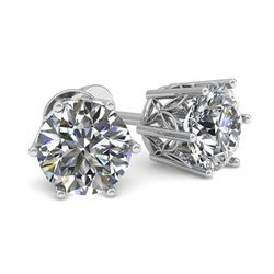 0.50 CTW Certified VS/SI Diamond Stud Solitaire Earrings 18K White Gold - REF-58F2N - 35814