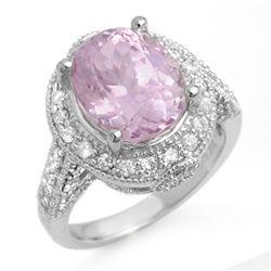 7.0 CTW Kunzite & Diamond Ring 14K White Gold - REF-128N2Y - 11071