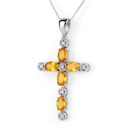 3.65 CTW Yellow Sapphire & Diamond Necklace 10K White Gold - REF-37Y5K - 10598