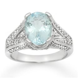 3.95 CTW Aquamarine & Diamond Ring 14K White Gold - REF-100K5W - 14507
