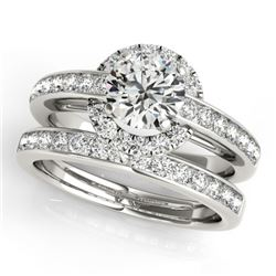 1.86 CTW Certified VS/SI Diamond 2Pc Wedding Set Solitaire Halo 14K White Gold - REF-416N2Y - 31091