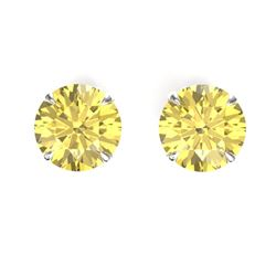 4 CTW Citrine Designer Inspired Solitaire Stud Earrings 18K White Gold - REF-29H3A - 21818