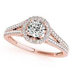 0.8 CTW Certified VS/SI Diamond Solitaire Halo Ring 18K Rose Gold - REF-130K5W - 26644
