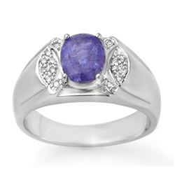 2.65 CTW Tanzanite & Diamond Men's Ring 10K White Gold - REF-70A4X - 13415