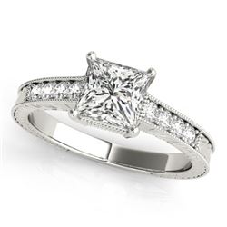 0.65 CTW Certified VS/SI Princess Diamond Solitaire Antique Ring 18K White Gold - REF-136A4X - 27225
