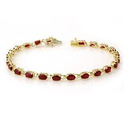 7.0 CTW Ruby Bracelet 10K Yellow Gold - REF-47K8W - 13452